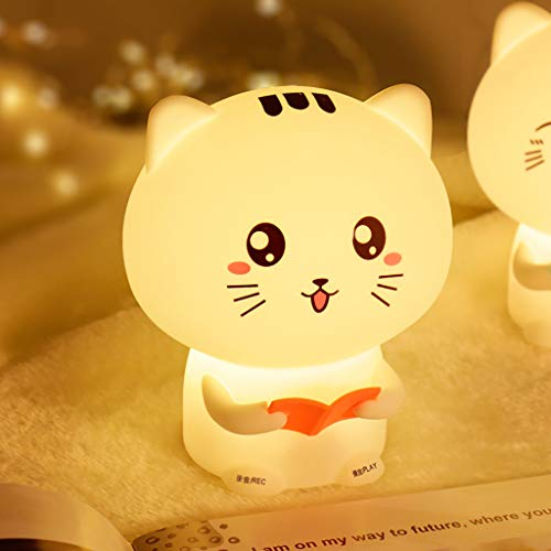 - OrchidAmor Cute Cat Lights Organic Silicone Night Light USB Rechargeable Bedside Lamp Baby 2019