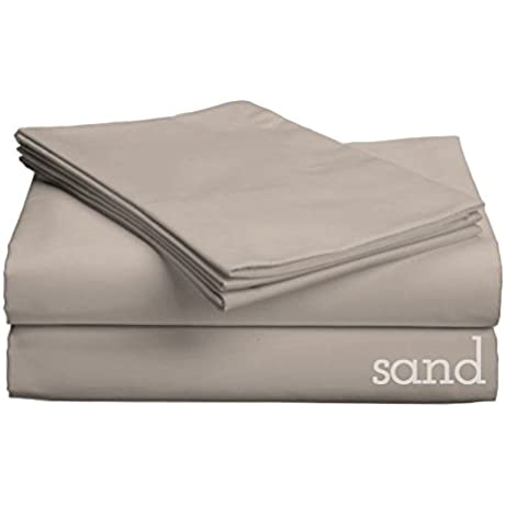 The Luxe Collection Cotton Sateen Sheet Set With Smarty BandZz Low Profile Up To 11 Split King Sand
