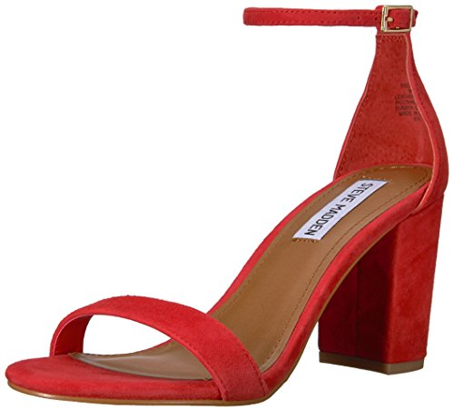 Steve Madden Women's DECLAIR Heeled Sandal, red Suede, 9 M US