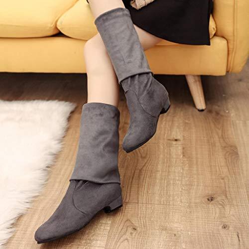 En Chaussures Dessous Cuir Compensées Gris Haut Haut Élégantes Martin Chaussures ❤ Genou Bottes Bottines Ci Au Bottes Vicgrey En D'Hiver Cuir Zqw87nTznf