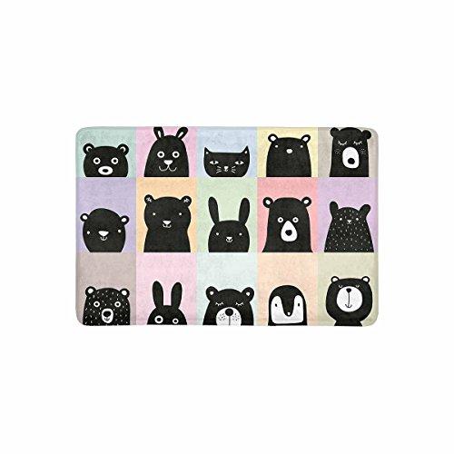 Afagahahs Cushion Cartoon Animal Posters Cute Bear Cat Rabbit Pig Cattle Penguin Short Plush Top Doormat Creative Indoor/Outdoor Mat Standar Size 18x30 Inches Durable And Beautiful Rug (Penguin Plush Short)