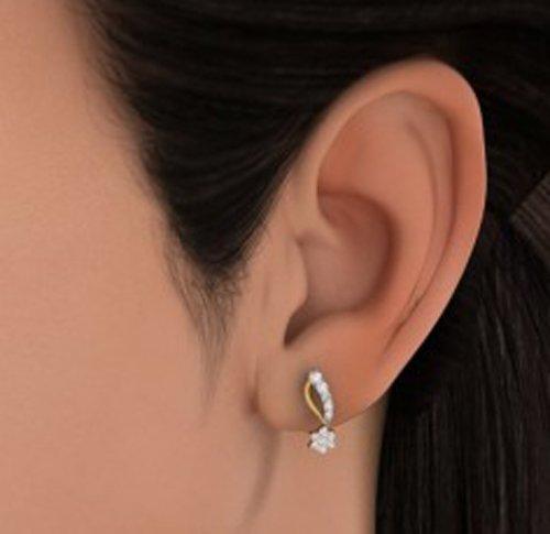 Or jaune 18K 0,4CT TW White-diamond (IJ | SI) Boucles d'oreille à tige