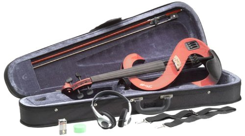 Stagg EVN 4/4 TR Silent Violin Set with Case - Transparent Red by Stagg