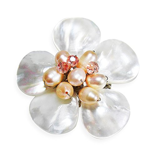 - AeraVida White Plumeria Mother of Pearl and Cultured Freshwater Pink Pearls Floral Pin/Brooch