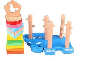Juguetes De Madera Preescolares Educativos Elefante Forma Cinco UqSMzpLVG