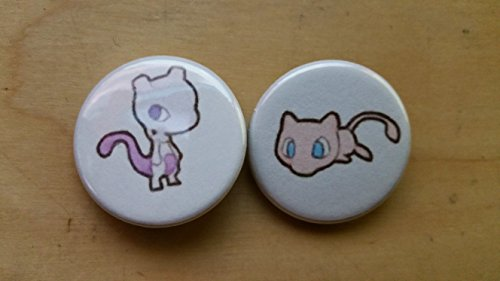5x Pokemon Collectible 1'' inch Buttons - Mew Mewtwo Evolution Set - Custom Made - Pin Back - Gift Party Favor by Legacy Pin Collection