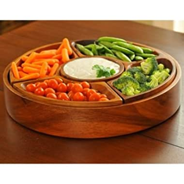 BirdRock Home 5 Section Wood Chip and Dip Bowl Set | Acacia Wood