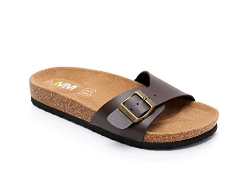 - Women Leather Single Buckle Sandals Arizona Slide Shoes (US 8, Brown)