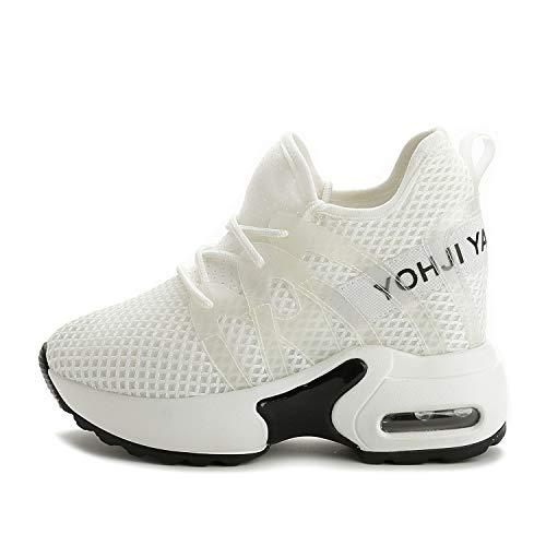 Sneakers Stringate Allenamento Spring Rotonde Con Da Scarpe Sportive Yan  Donna Bianca Ginnastica E Plateau Mesh ... baf4aab6d91