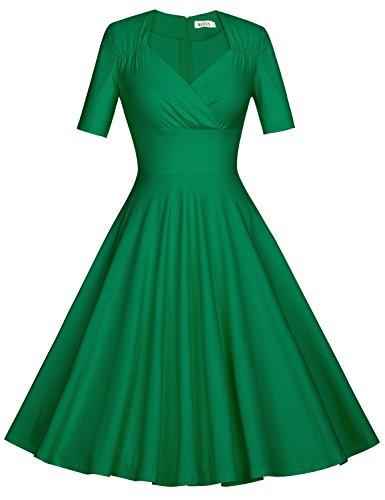 MUXXN Women's 50s Retro Solid Patchwork Pleated Swing Dress (L, Green)