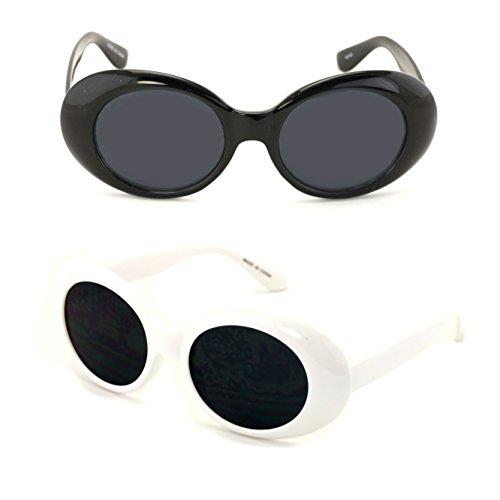 b9af4b48cee V.W.E. Vintage Sunglasses UV400 Bold Retro Oval Mod Thick Frame Sunglasses  Clout Goggles with Dark Round
