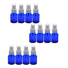 Coolrunner Blue 1/2oz (15ml) Glass Bottle with White Atomizer/Pump/Mist sprayer for Essential Oils/Formulas/Lotion