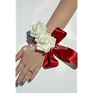 Ivory Double Rose with Burgundy Wrist Corsage for Weddings 9