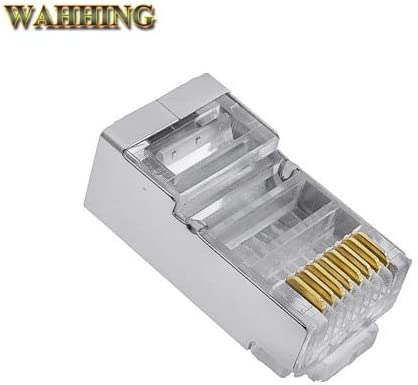 ShineBear RJ45 Connector Cat6 RJ45 Shielded Plugs Network Cat 6 Connector Terminals Ethernet Cable Plug Colorful HY1527 Cable Length: 50 pcs, Color: Crystal