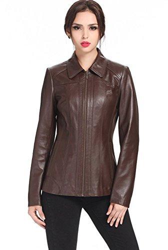 SID Women's Lambskin Leather Trench Coat Jacket, Bold Brown, Medium ()