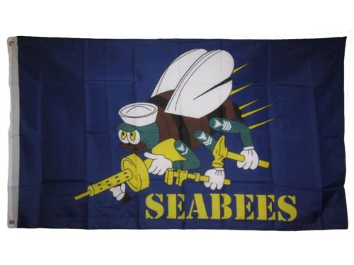 Moon 3x5 Seabees Sea Bees Blue Navy Flag 3x5 Banner Brass Gr