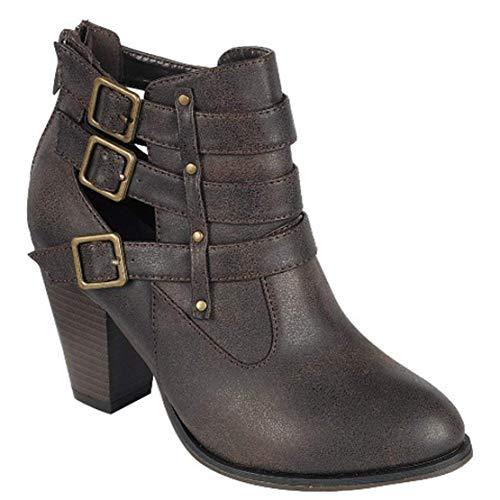 Forever Women's Buckle Strap Block Heel Ankle...