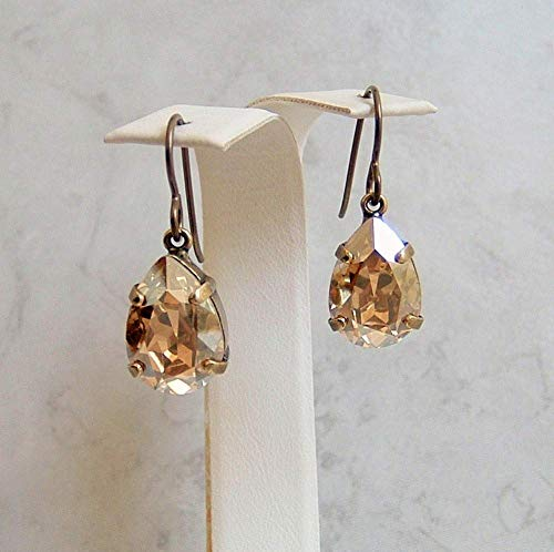 Brass Crystal Ring - Champagne Beige Pear Drop Crystal Antique Brass Niobium Earrings Made With Swarovski Gift Idea