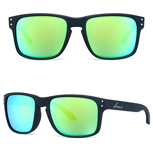 BNUS Sunglasses Shades for men women green mirrored lenses (Black Rubber/Green Flash, Non-Polarized Size:56mm(M))