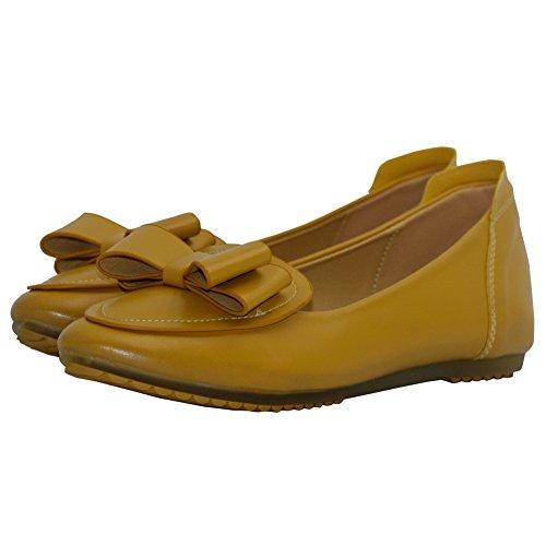 AalarDom Mujer Sin cordones Puntera en Punta Material Suave Sólido Plano con Pajarita Amarillo-Pajarita
