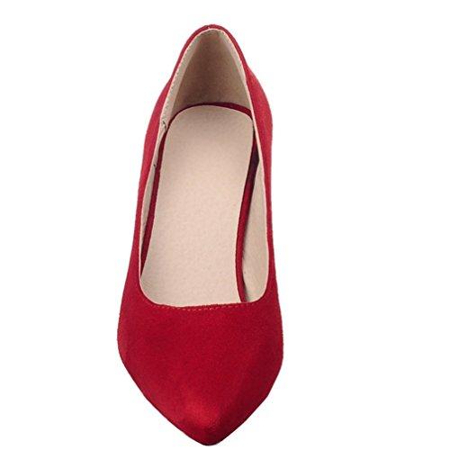 Enmayer Mujeres Spring And Summer Convenient Sweet Style Tacones Altos Slip On Bombas Rojo