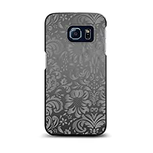 CUSTOM Black Spigen ThinFit Case for Samsung Galaxy S6 EDGE - Shades of Grey Floral Pattern