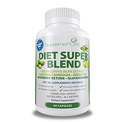 Supreme Pure '9-in-1' Advanced Dietary Formula to help Burn Belly Fat - 60 Healthy Diet Pills Made with Natural Green Coffee Bean Extract (Chlorogenic Acid), Garcinia Cambogia 50% HCA (Hydroxycitric Acid) , Green Tea Extract Powder, Raspberry Ketone, Afri