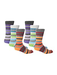 Giovanni Cassini - 6 Pack Mens Italian Inspired Striped Cotton Socks 6.5-11.5 US
