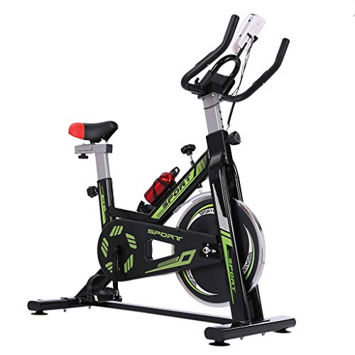 Indoor Folding Exercise Cycling Bike, Ultra-Quiet Stationary Fitness Upright Spinning Bicycle with Tablet Stand and…