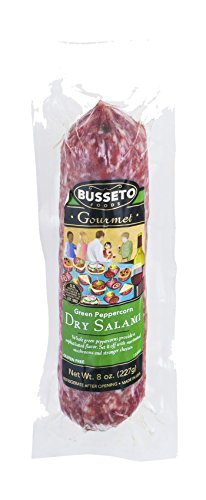 Busseto Dry Cured Salami, Green Peppercorn, 8 Ounce (Pack of 15) (Peppers Cured)