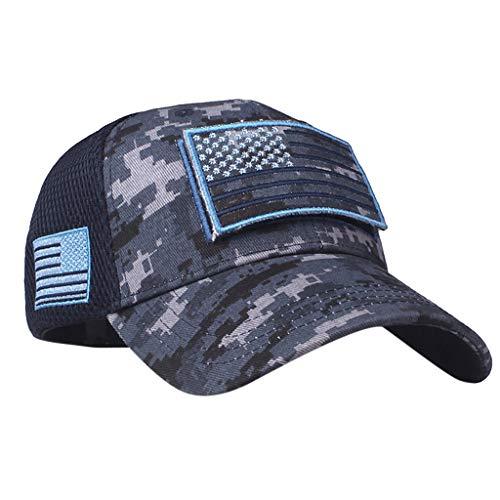 QIQIU Hats Summer Mens USA Flag Embroidery UV Protection Beach Sun Hat Baseball Caps