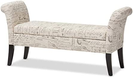 Baxton Studio Avignon Script Patterned French Laundry Fabric Storage Ottoman Bench