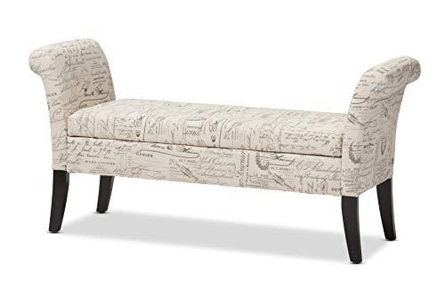 Baxton Studio Avignon Script Patterned French Laundry Fabric Storage Ottoman Bench