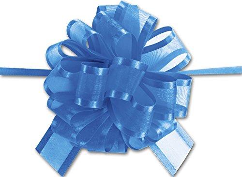 Bows - Royal Blue Sheer Satin Edge Pull Bows, 18 Loops, 1 1/2