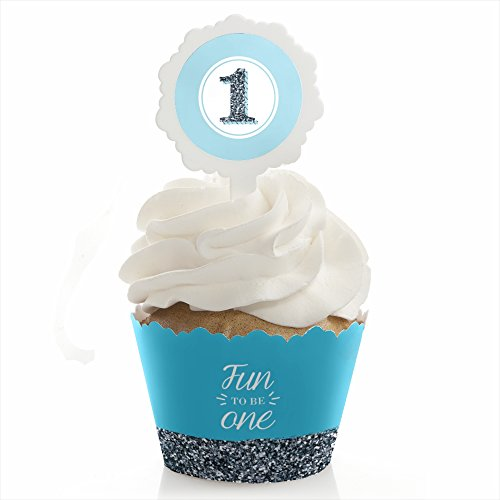 1st Birthday Boy - Fun to be One - First Birthday Party Cupcake Wrapper and Pick - Cupcake Decorating Kit - Set of 24 ()