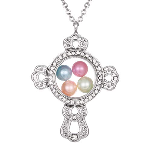 - ChengYu Silver Living Cross-1 Memory 8mm Beads Pearl Cage Glass Floating Locket Magnetic Pendant Rhinestone Necklace Gift for Her (Cross-1)