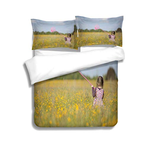 - VROSELV-HOME Bedding Sets Duvet Cover Set,Girl with Butterfly Net in Field of Yellow Flowers,Soft,Breathable,Hypoallergenic,Bedspreads Beach Theme Quilt Cover Children Comforter Cover