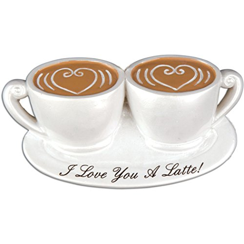Personalized I Love You a Latte Christmas Tree Ornament 2019 - Cute Two Porcelain Coffee Cups Heart Lovers Mug 1st First Cappuccino Café Barista Addict Saying Gift Year - Free Customization