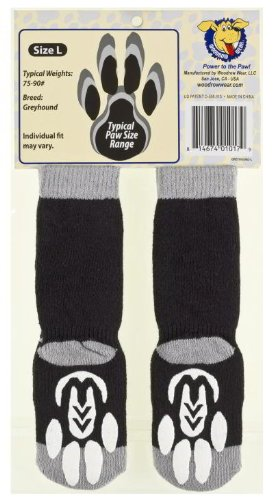 Woodrow Wear Power Paws, Traction Socks for Dogs, Black & Gray, Greyhound L, fits up to 95 lbs. by Woodrow Wear