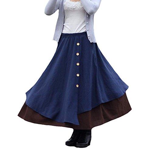SportsX Womens Buttoned Asymmetrical High-Waisted Pocket Linen Midi Skirt Dark Blue One Size