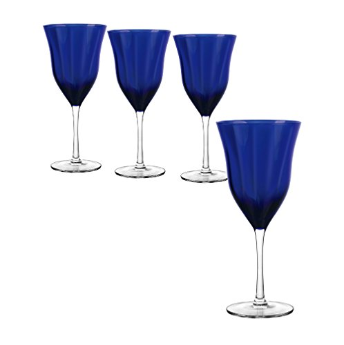 Qualia Glass Meridian Goblet Glass, Clear/Blue, 4 Piece (Cobalt Blue Crystal Bowl)