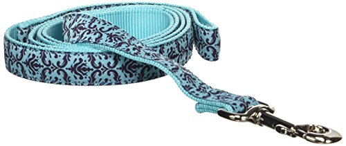 (Hamilton Single Thick Dog Leash with Damask Patterned Ribbon Overlay, 1