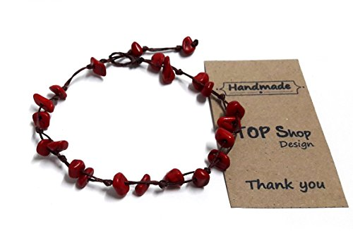 Red Coral Color Bead Anklet or Bracelet Beautiful 26 cm.Handmade for Women Teens and Girls