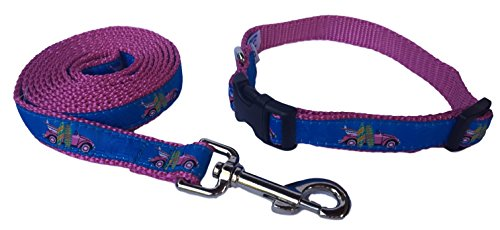 Preston Pink Surfboard Dog Collar and Leash Set - Hip Pink Bug and Surfboards on Blue Ribbon and Hot Pink Nylon Webbing (Small)