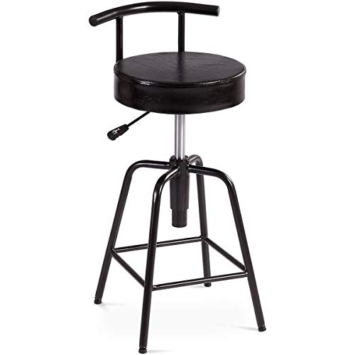 COSTWAY Bar Stool, Adjustable Swivel PU Leather Covered Cushion, Thick Foam Padded, Powder Coated Iron Frames, with Square Footrest, Universal Shackles, for Home, Cafe and Bar, Black (1 Stool)