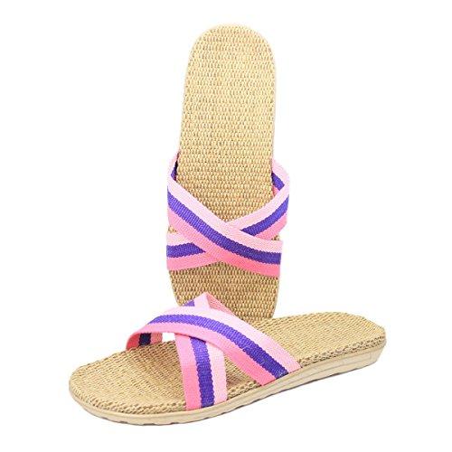 Pantofole Di Lino Da Casa Traspiranti Leggere Bestfur Donna Rosa E Blu