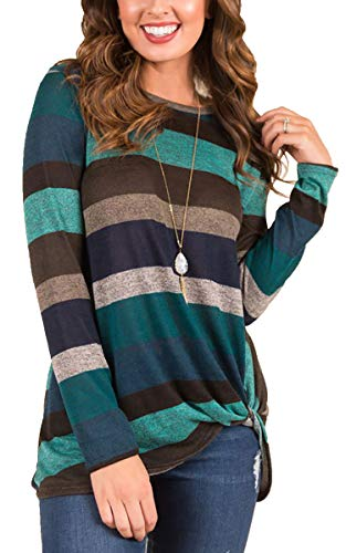 ECOWISH Womens Cotton Striped Casual Blouse Long Sleeves Knot Side Twist Knit Tunic Tops Green XL