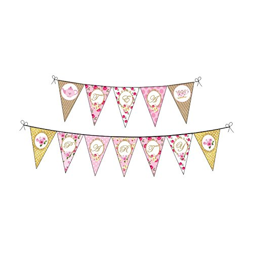 Tea Party. Tea Party Birthday Decorations for Girls. Pink & Gold Party. Baby Shower. Bridal Shower. Pink and Gold Party. Includes Party Hats, Centerpieces, Banner, Danglers and Cupcake Toppers.