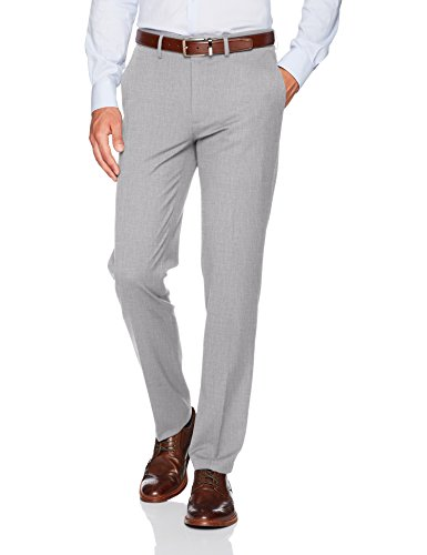 Haggar Men's J.m Stretch Superflex Waist Slim Fit Flat Front Dress Pant, Light Grey, 29Wx32L by Haggar