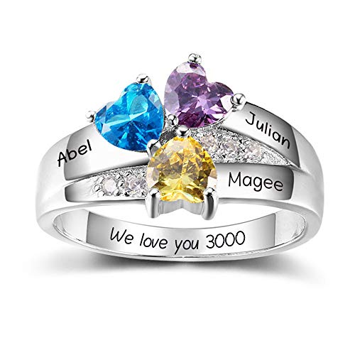 (Lam Hub Fong Personalized 3 Simulated Birthstone Mothers Rings for 3 Engrave Name Rings for Family Mother's Day Friends Gifts (7))